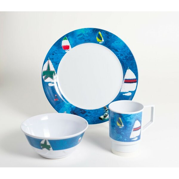 Decorated Spinnaker Melamine 18 Piece Dinnerware Set, Service for 6 by Galleyware Company