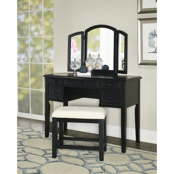 Burhardt Vanity Set with Stool and  Mirror