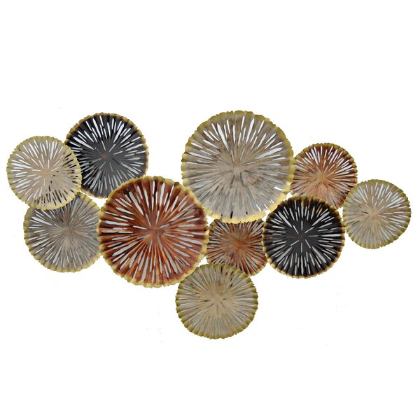 Circular Cluster in Neutral Tones Metal Wall Décor by Rosecliff Heights