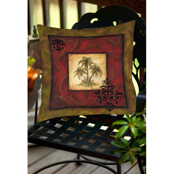 Palm Breezes V Indoor/Outdoor Throw Pillow by Manual Woodworkers & Weavers