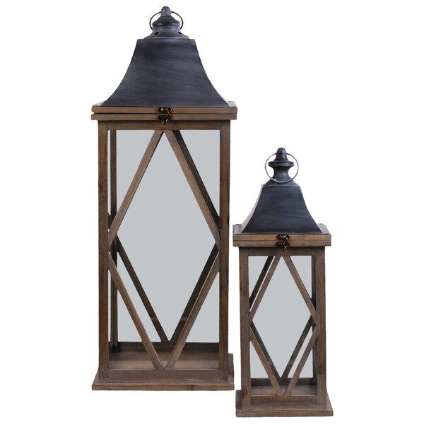 Square 2 Piece Wood Lantern Set by Gracie Oaks