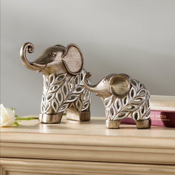Llana Decorative Elephants 2 Piece Figurine Set by Astoria Grand