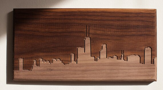 City Skylines Solid Walnut Chicago Skyline Routing Wall Art by Dave Marcoullier Wood Routings