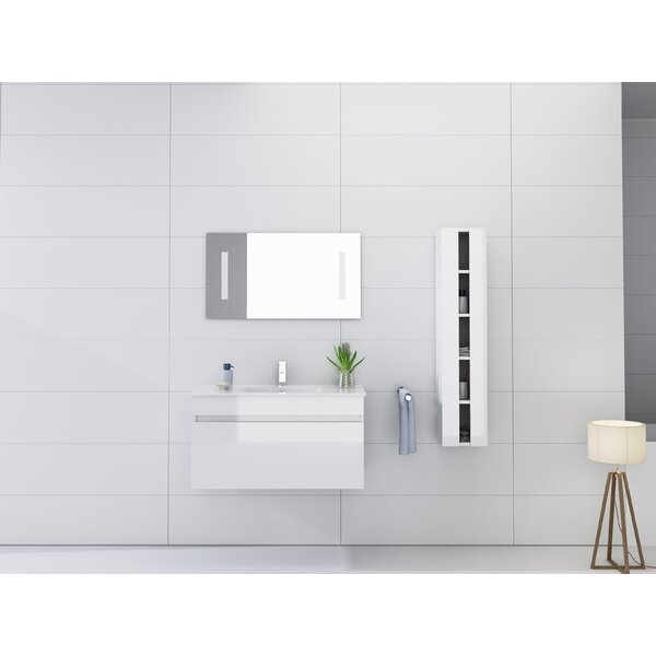 Kimbrough 36 Wall-Mounted Single Bathroom Vanity Set with Mirror by Orren Ellis