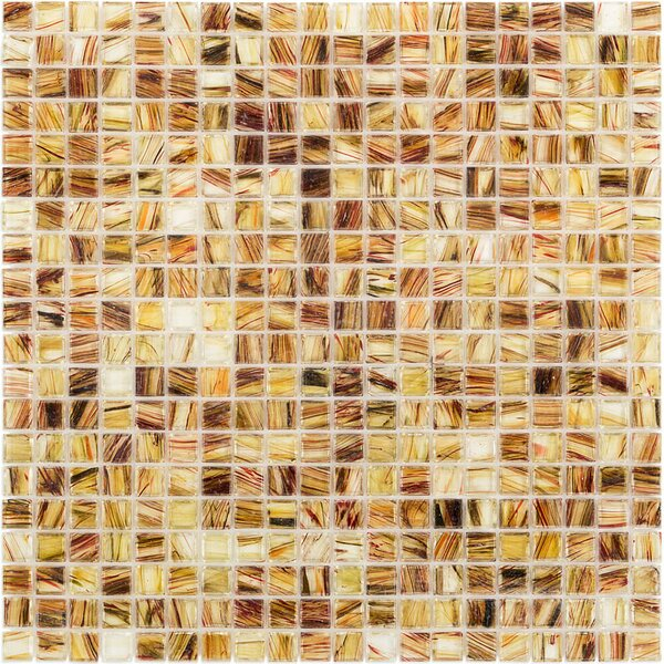 Breeze 0.62 x 0.62 Glass Mosaic Tile in Brown/Amber