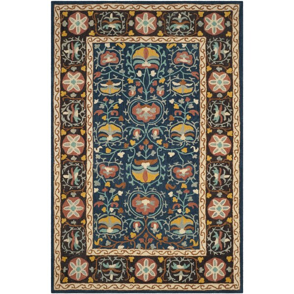 Baumgartner Hand-Tufted Blue/Red/Brown Area Rug by Darby Home Co