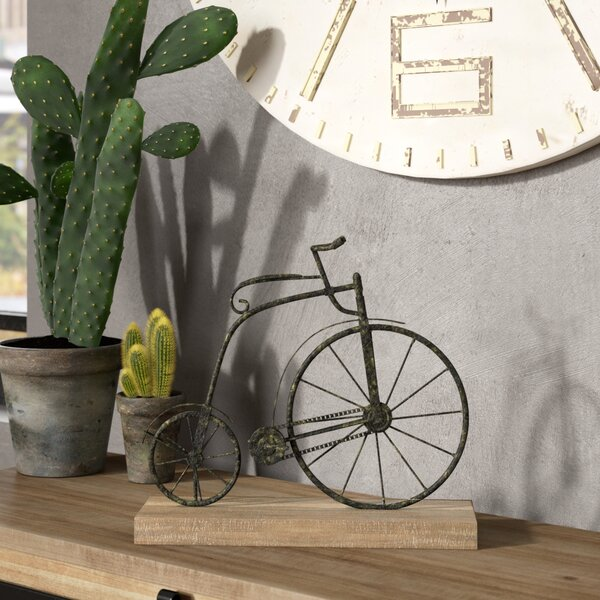Textured Iron and Fir Decorative Bicycle Sculpture by Trent Austin Design