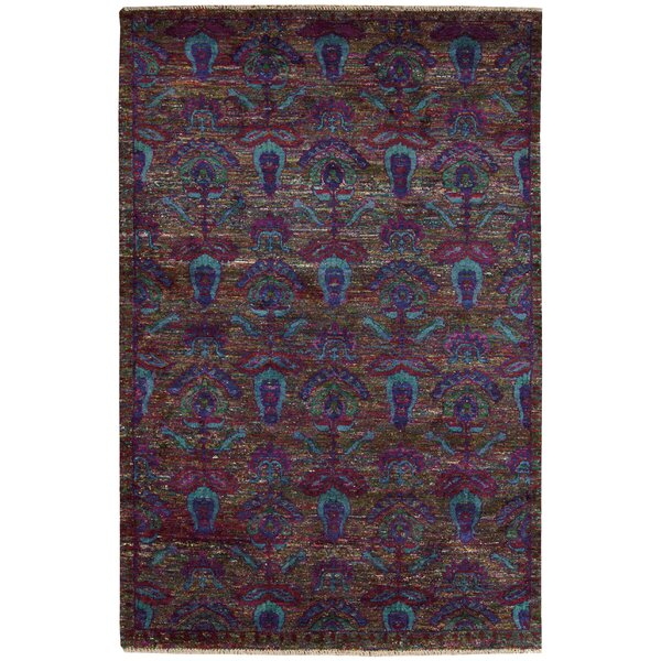 Pinos Hand knotted Purple Area Rug by Bloomsbury Market