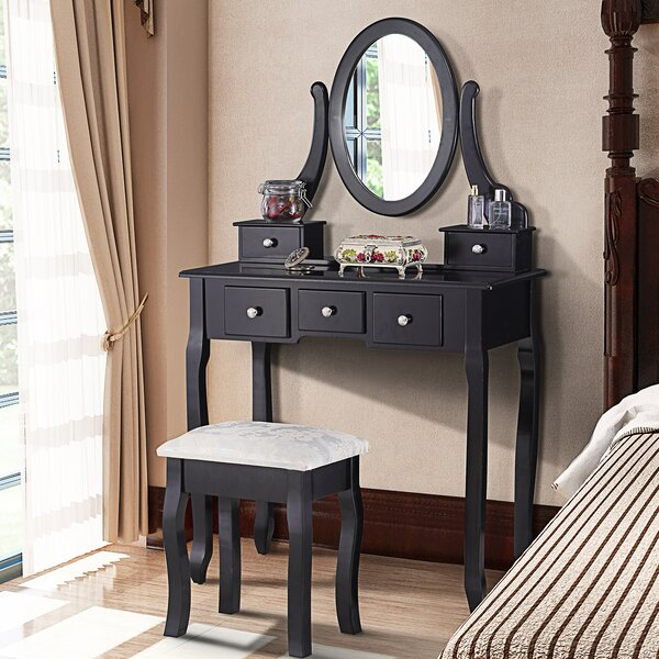 Hann Vanity Set with Mirror by House of Hampton