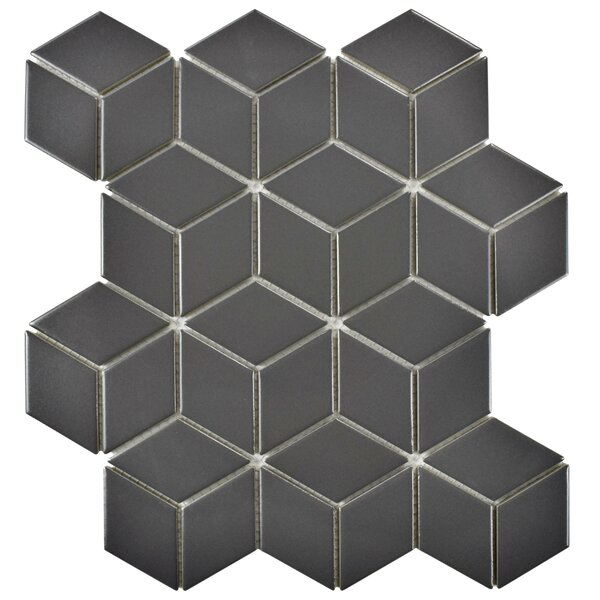 Retro Rhombus 1.88 x 3.18 Porcelain Mosaic Tile in Matte Gray by EliteTile