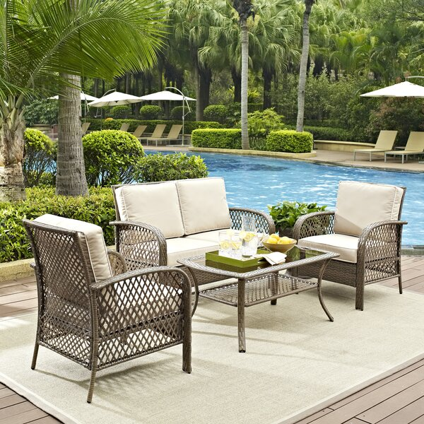 Tribeca 4 Piece Rattan Sofa Seating Group With Cushions By Beachcrest Home
