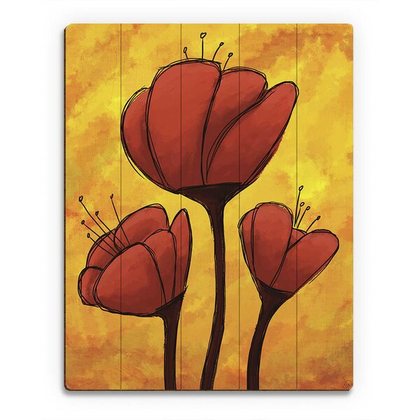 Wood Slats Red Lily Painting Print on Plaque by Click Wall Art