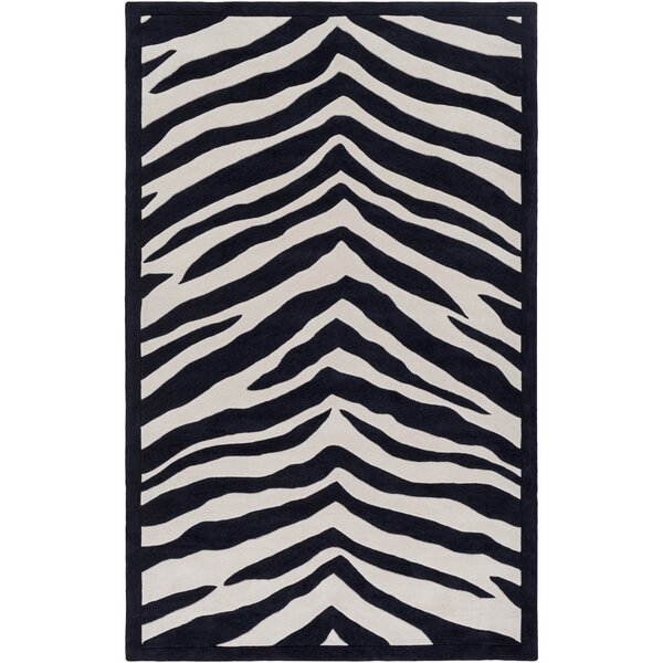 Alvin Hand-Tufted Black/Ivory Area Rug by Zoomie Kids