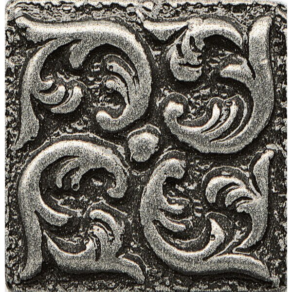 Ambiance Insert Wave 1 x 1 Resin Tile in Pewter by Bedrosians