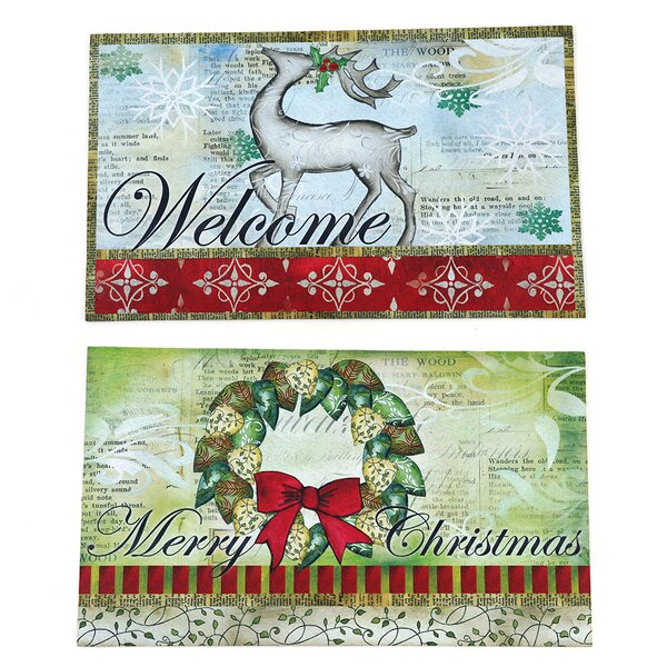 Lars 2 Peice Christmas Welcome Kitchen Mat Set (Set of 2)