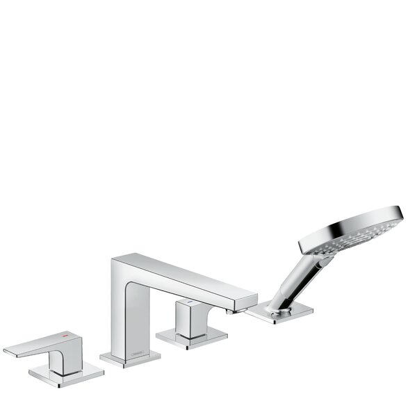 Metropol Double Handle Deck Mounted Roman Tub Faucet Trim with Diverter and Handshower by Hansgrohe Hansgrohe