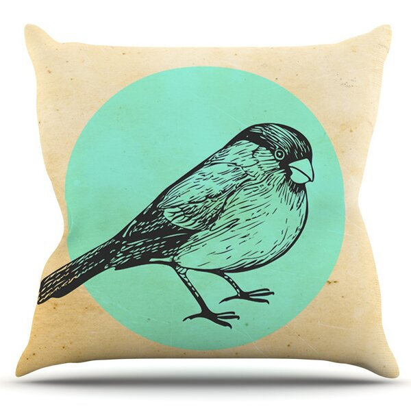 Old Paper Bird by Sreetama Ray Outdoor Throw Pillow by East Urban Home