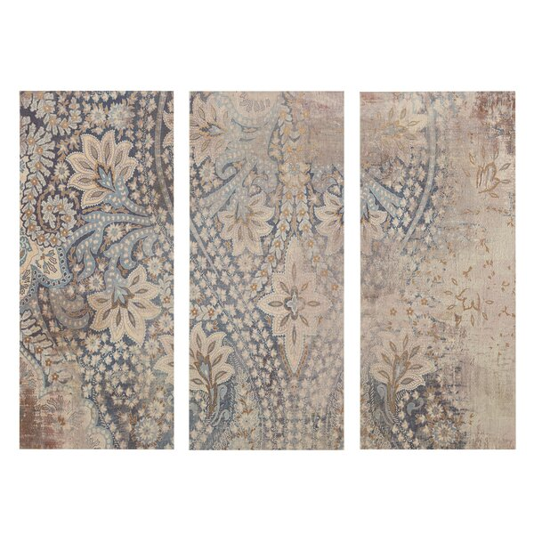 Weathered Damask Walls Graphic Art on Wrapped Canvas by Alcott Hill