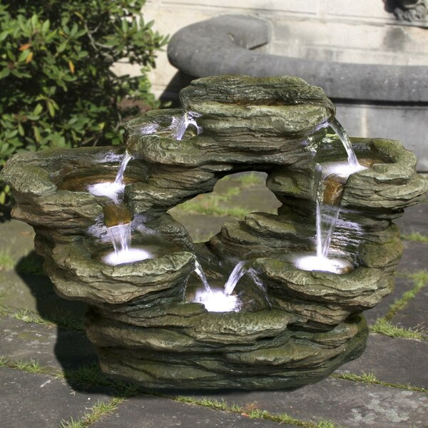 Polyresin Multilevel Rock Fountain with LED Light by Hi-Line Gift Ltd.