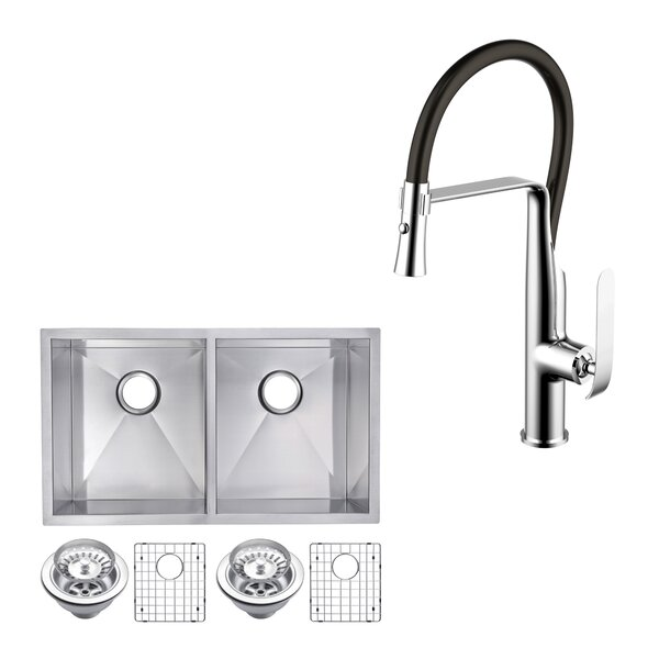 All-in-One Stainless Steel 31 L x 18 W Double Basin Undermount Kitchen Sink with Faucet by dCOR design