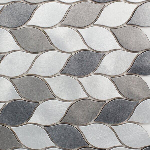 multile leaf shape 1 25 x 2 75 metal mosaic tile in silver gray