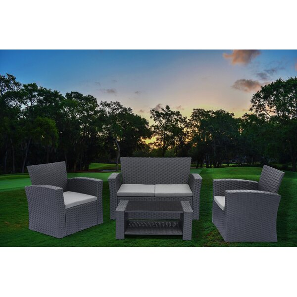 Ketillogh 4 Piece Rattan Sofa Seating Group with Cushions by Ebern Designs