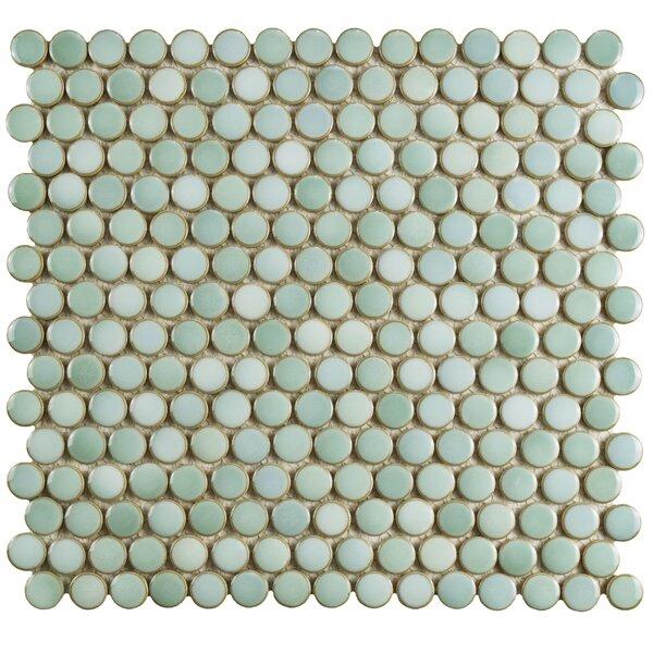 Penny 12 X 12.625 Porcelain Mosaic Tile in Mint Green by EliteTile