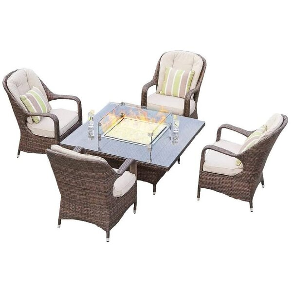 Surrey Eton 5 Piece Dining Set with Cushions and Firepit Bayou Breeze W003083668