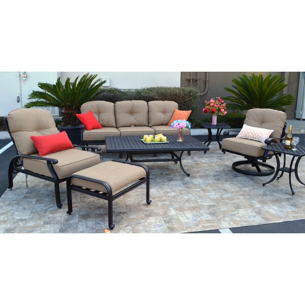 Sidney 7 Piece Sunbrella Sofa Set with Cushions by Three Posts