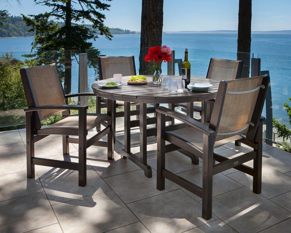 Wayfair Patio Table Round Patio Furniture Wayfair Patio: POLYWOOD® Coastal 5 Piece Dining Set & Reviews