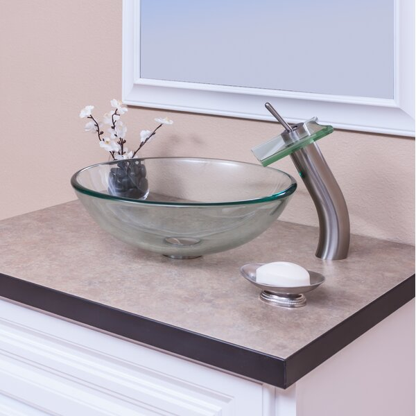 Clear Glass Circular Vessel Bathroom Sink with Faucet by Topia