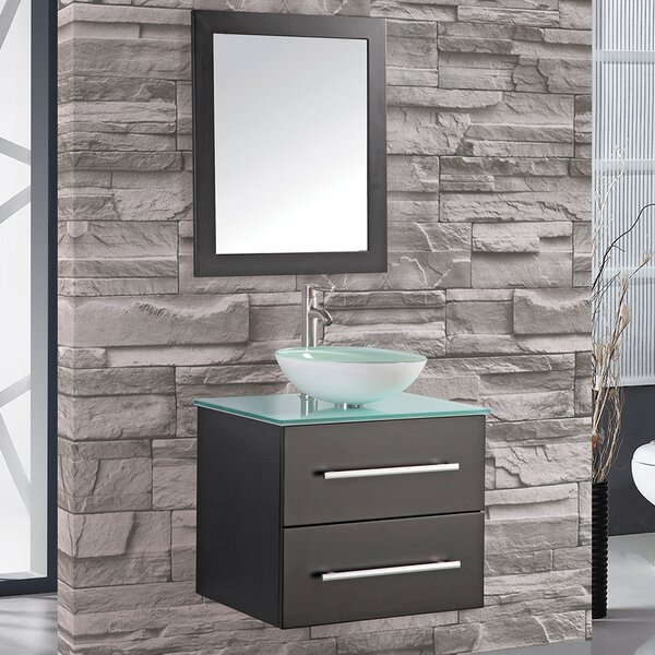 Prado 24 Single Wall Mounted Bathroom Vanity Set with Mirror by Orren Ellis