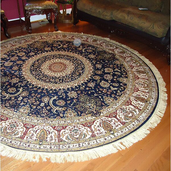 Shanelle Living Room Hand-Knotted Silk Navy Area Rug by Astoria Grand
