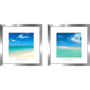 'Tropical Horizons IV' 2 Piece Framed Photographic Print Set Under Glass by Beachcrest Home