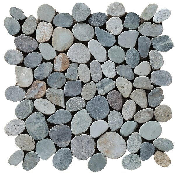 12 x 12 Natural Stone Pebble Tile in Mixed by Casual Elements