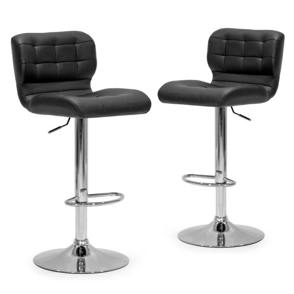 Adjustable Height Swivel Swivel Bar Stool (Set of 2) by Glamour Home Decor