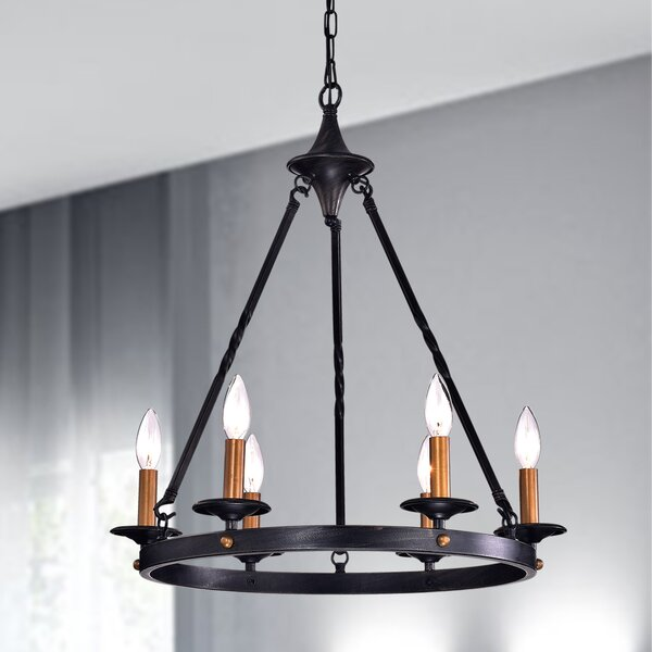 Brian 6 - Light Candle Style Wagon Wheel Chandelier By Millwood Pines