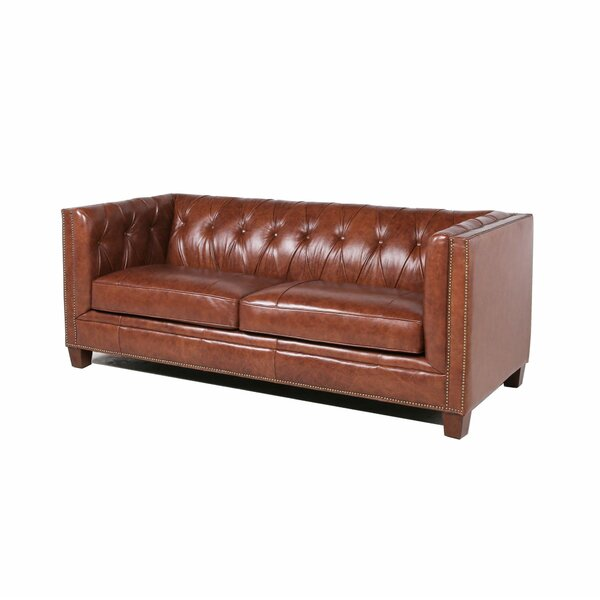 Find Out The Latest Bronwood Leather Sofa by Three Posts by Three Posts