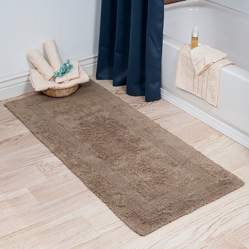 Long Bathroom Mats darby home co baysview extra long reversible bath rug & reviews