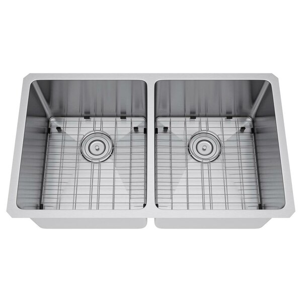 31 L x 18 W Double Bowl Undermount Kitchen Sink with Strainer and Grid