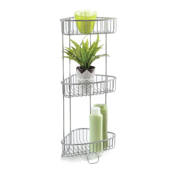 Bathroom Accessories Corner Stand Open Wire Design With 3 Shelves by HomeCrate
