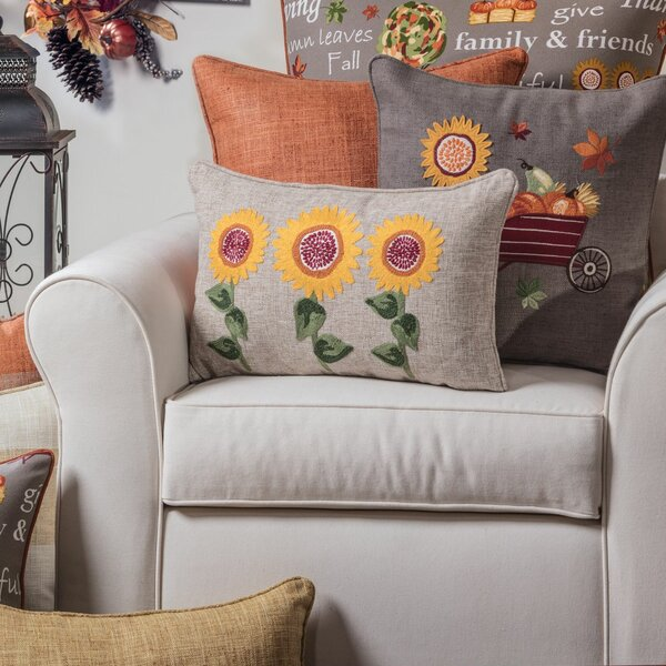 Delvale Sunflower Delight Embroidered Bolster by August Grove