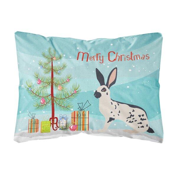 Manzanita English Spot Rabbit Christmas Indoor/Outdoor Throw Pillow by The Holiday Aisle