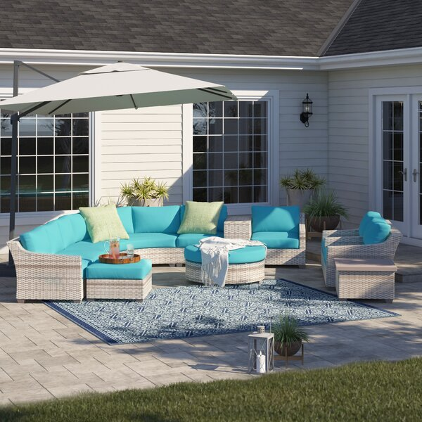 Falmouth 12 Piece Rattan Sectional Seating Group with Cushions by Sol 72 Outdoor