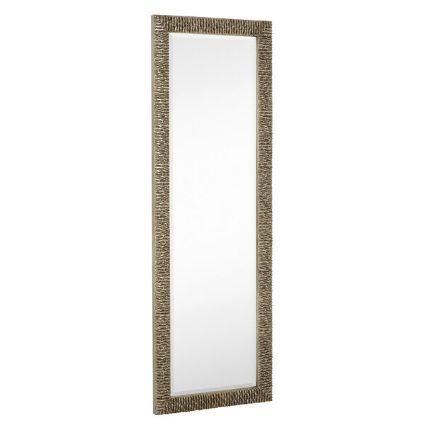 Long Rectangular Stylish Silver With Black Undercoat Framed Beveled Glass Wall Mirror by Majestic Mirror