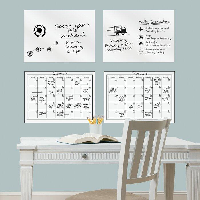 Brewster Home Fashions 4 Piece Dry Erase Calendar Whiteboard Wall