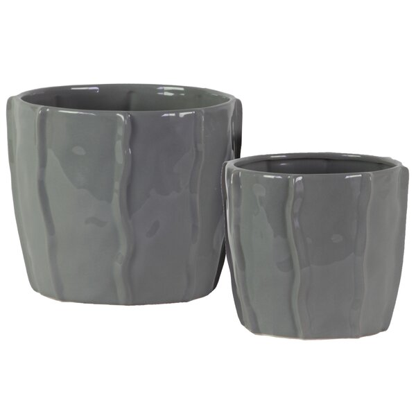 Gulbranson 2-Piece Ceramic Pot Planter Set by Orren Ellis