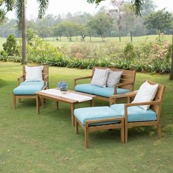 Carly Patio 7 Piece Teak Sofa Seating Group with Cushions by Rosecliff Heights