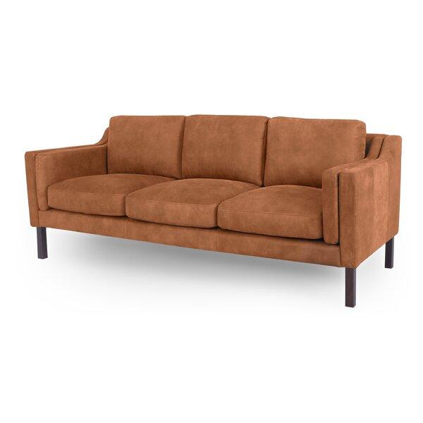 Rolando Mid-Century Leather Sofa By Corrigan Studio