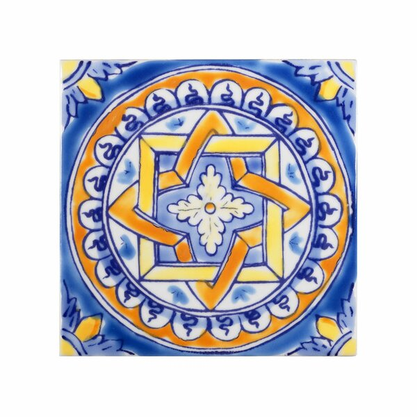 Mediterranean 4 x 4 Ceramic Firenze Decorative Tile in Blue by Casablanca Market